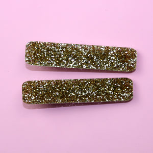 Gold Glitter Hair Clips - Sour Cherry