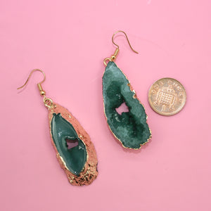 Load image into Gallery viewer, Green Druzy Earrings - Sour Cherry