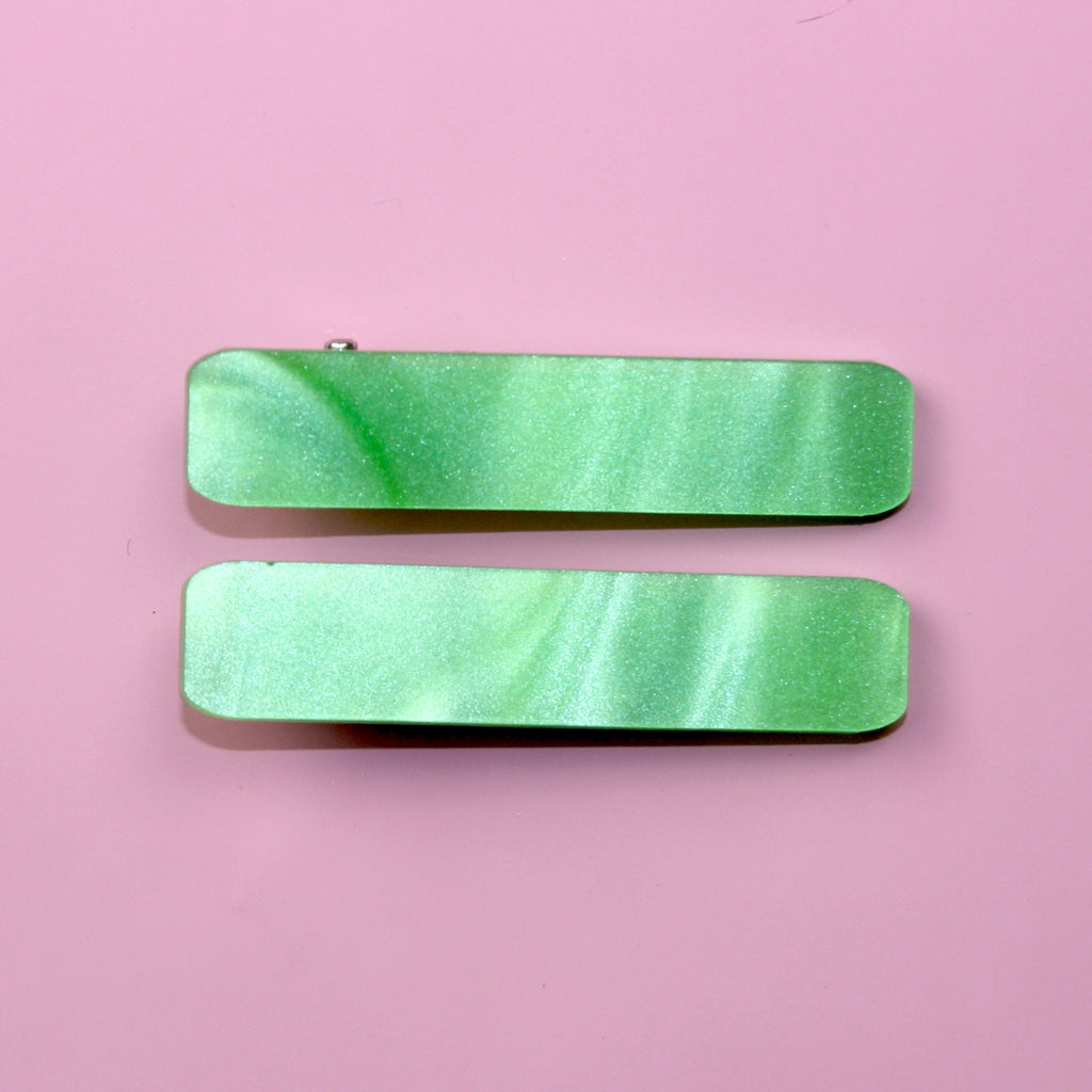 Green Marble Hair Clips - Sour Cherry