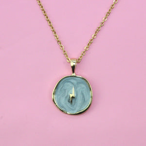 Grey & Gold Lightning Necklace - Sour Cherry