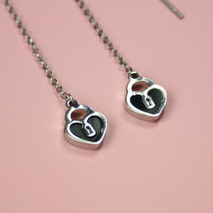Heart Padlock Threader Earrings - Sour Cherry