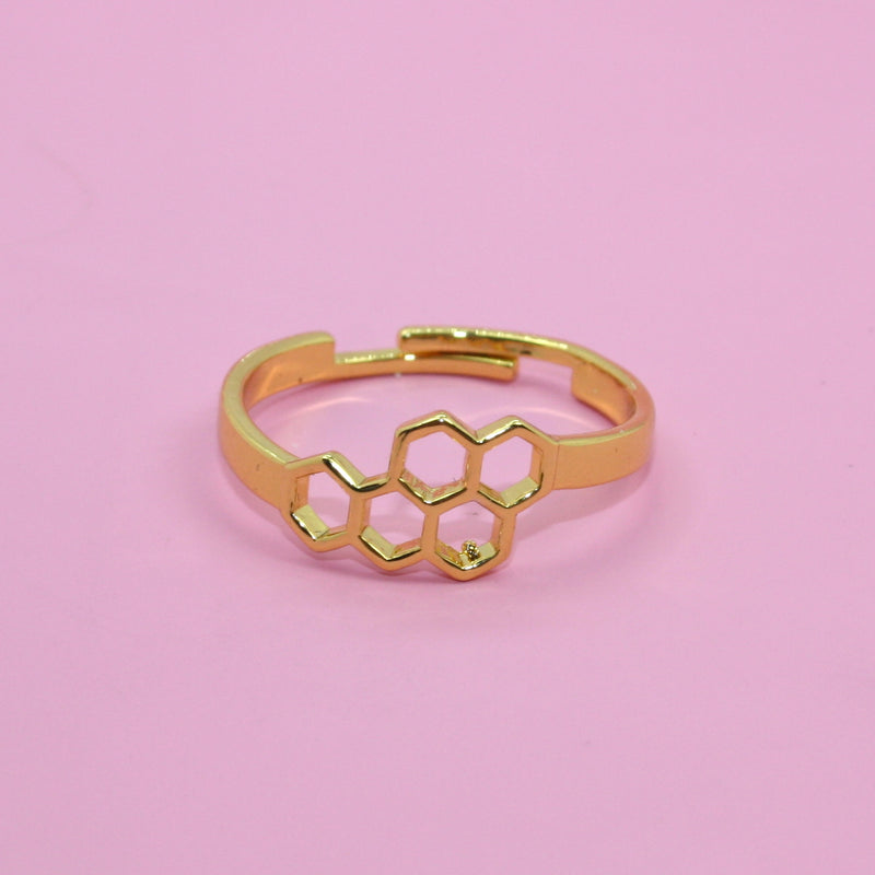 Small Honeycomb Ring (Gold Plated) - Sour Cherry