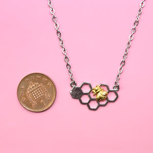 Honeycomb & Bee Necklace (Stainless Steel) - Sour Cherry