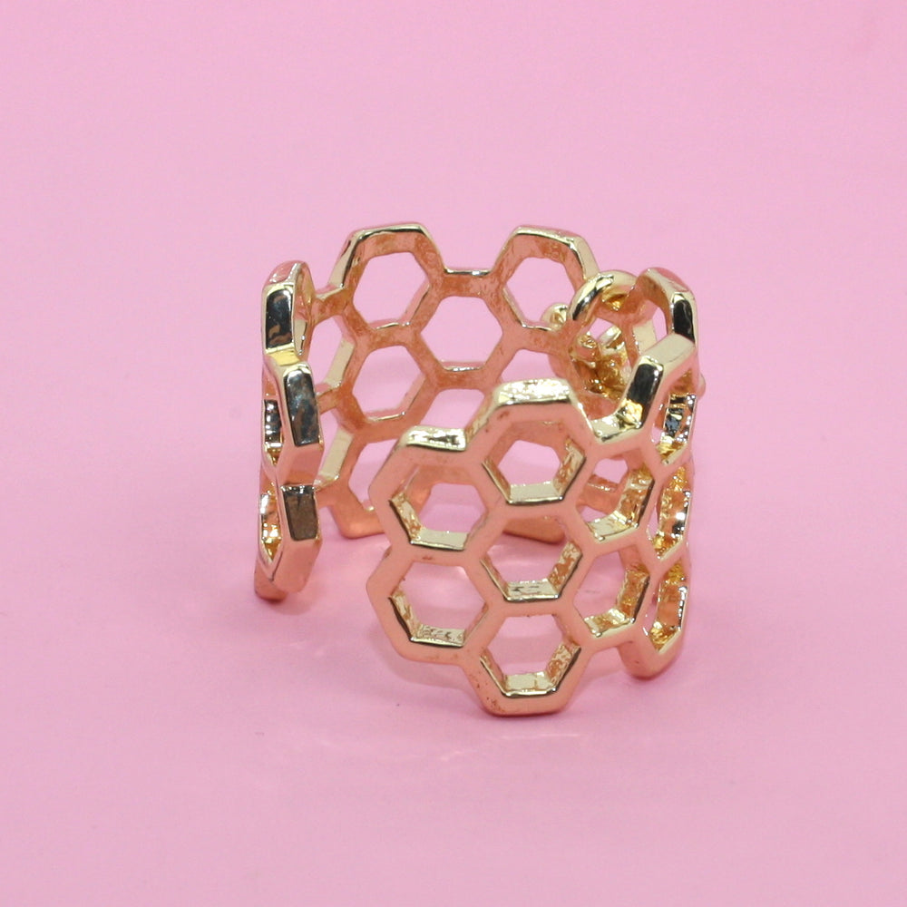 Honeycomb & Bee Ring (Gold Plated) - Sour Cherry