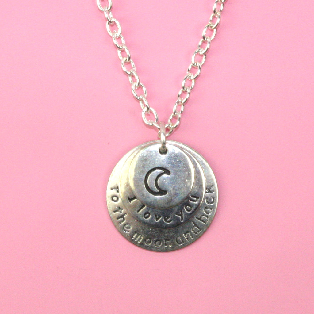I Love You To The Moon & Back Silver Necklace - Sour Cherry