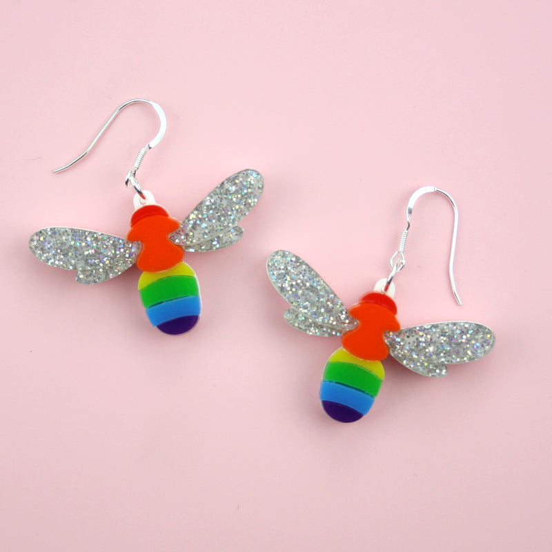 Manchester Pride Disco Bee Earrings