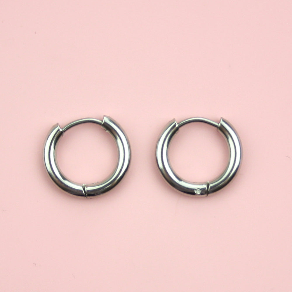 Load image into Gallery viewer, 15mm Stainless Steel Hoop Earrings