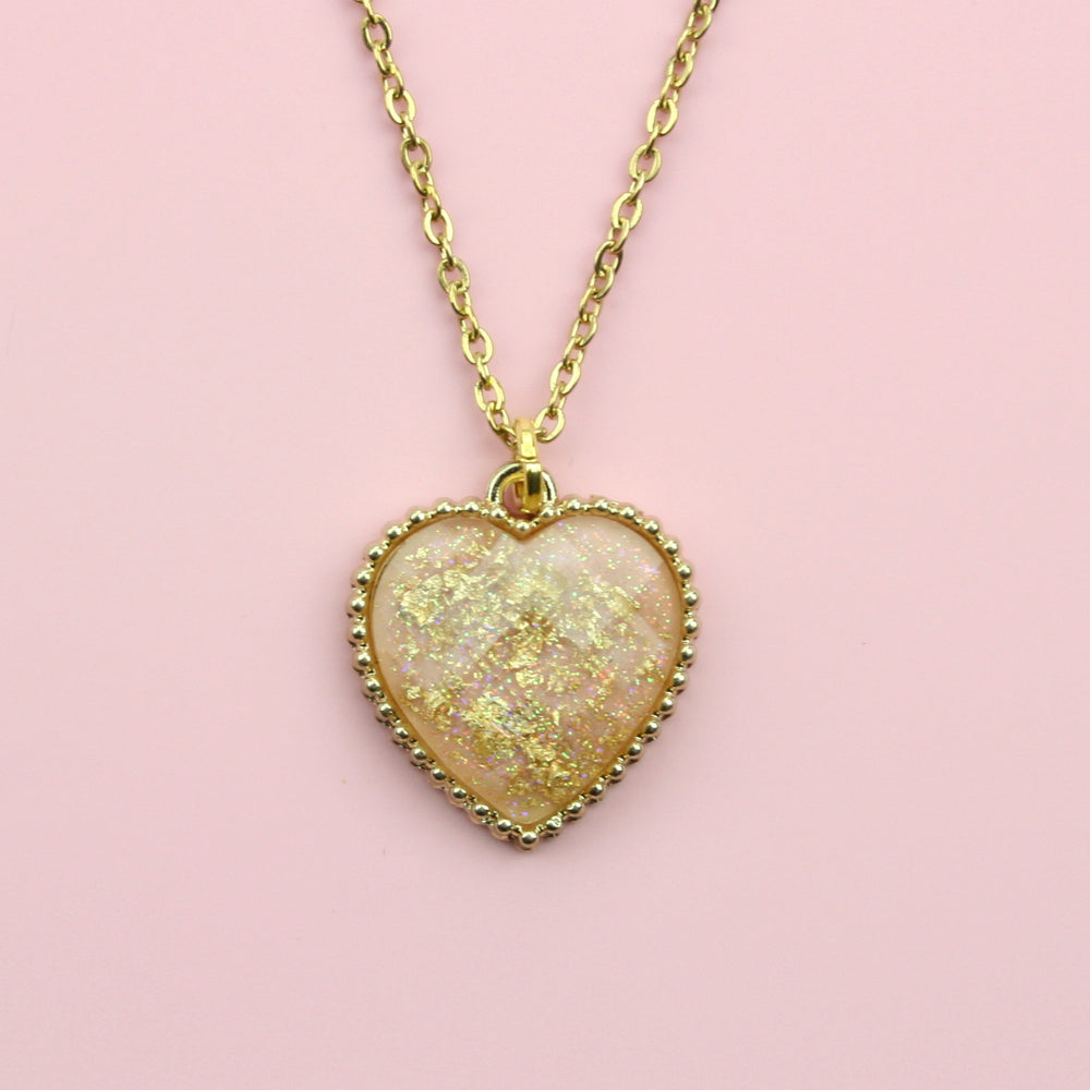 Pink & Gold Dust Heart Necklace