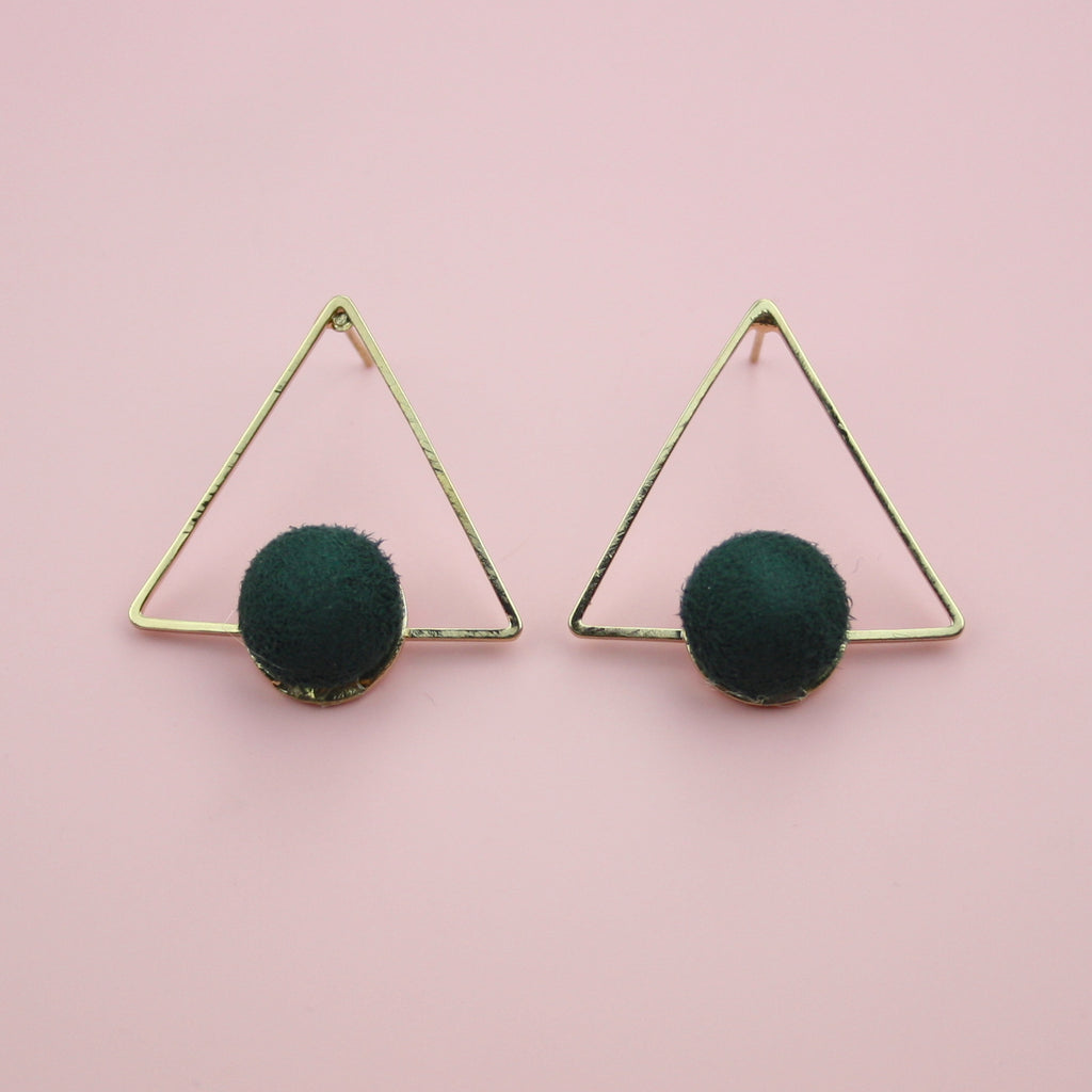 Dark Green Pom Pom Triangle Studs