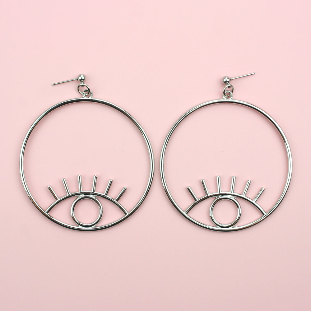 Load image into Gallery viewer, Large Circle Eye Earrings