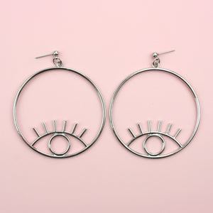 Large Circle Eye Earrings