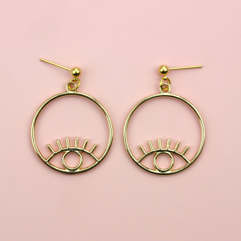 Small Circle Eye Earrings (Stainless Steel/Gold Plated)