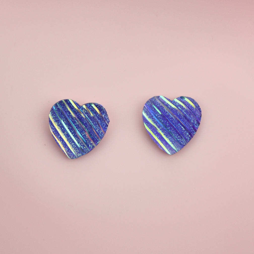 Purple Iridescent Heart Studs Earrings