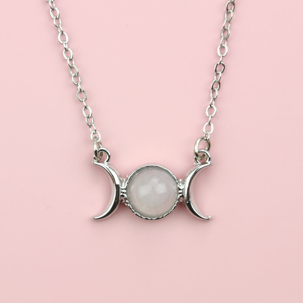 Load image into Gallery viewer, Rose Quartz Moon Necklace