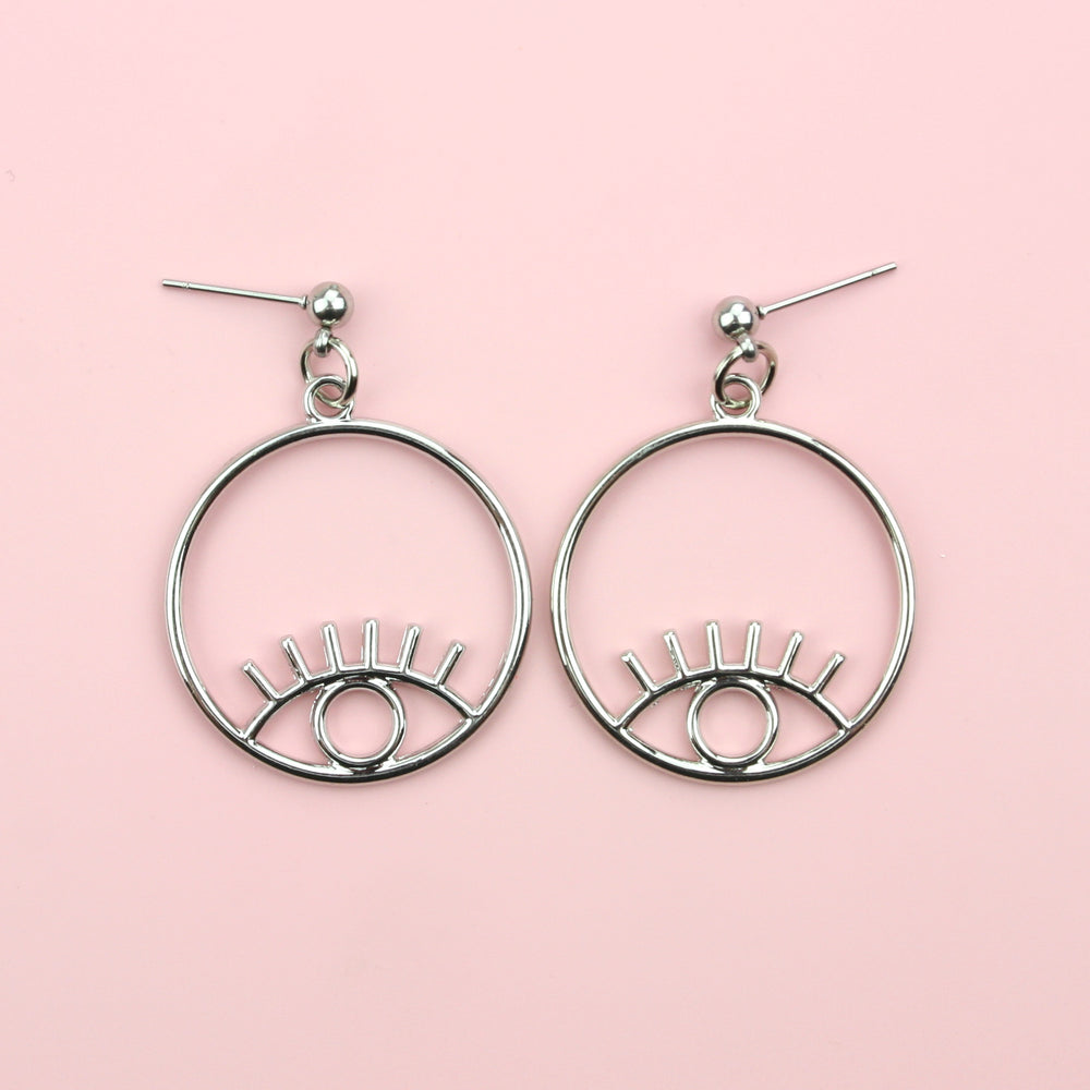 Small Circle Eye Earrings