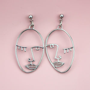 Face Earrings (Silver Plated)