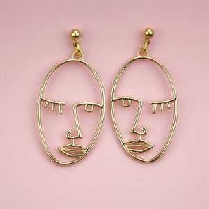 Face Earrings (Gold Plated)