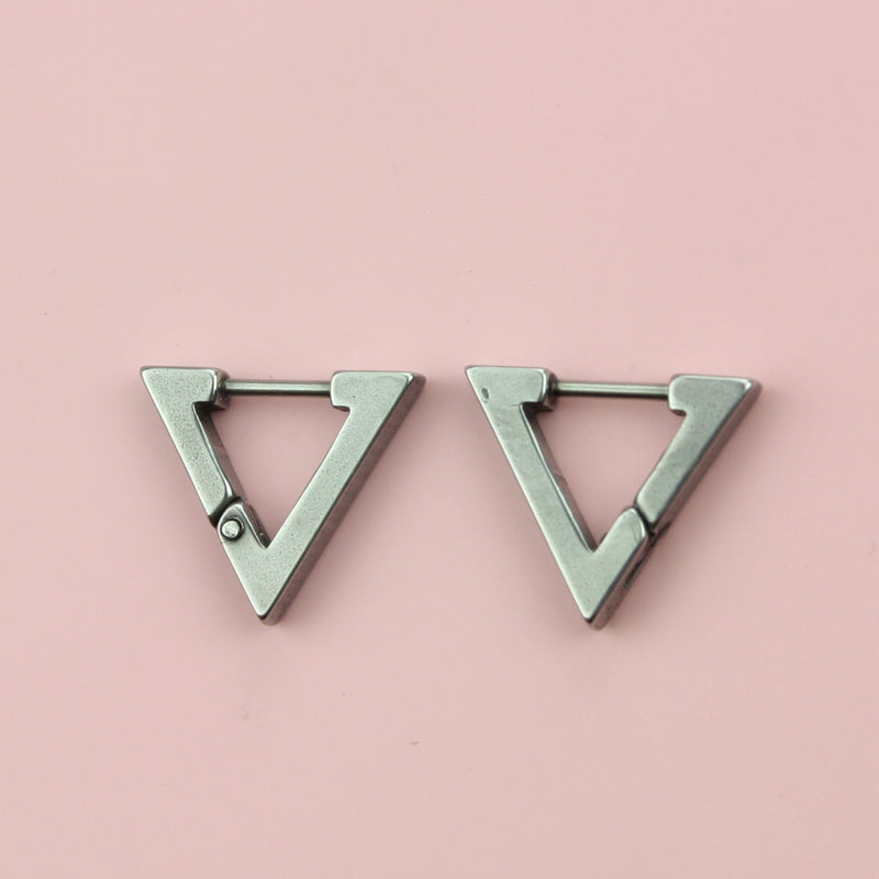 Triangle Huggie Hoop Earrings (Stainless Steel)