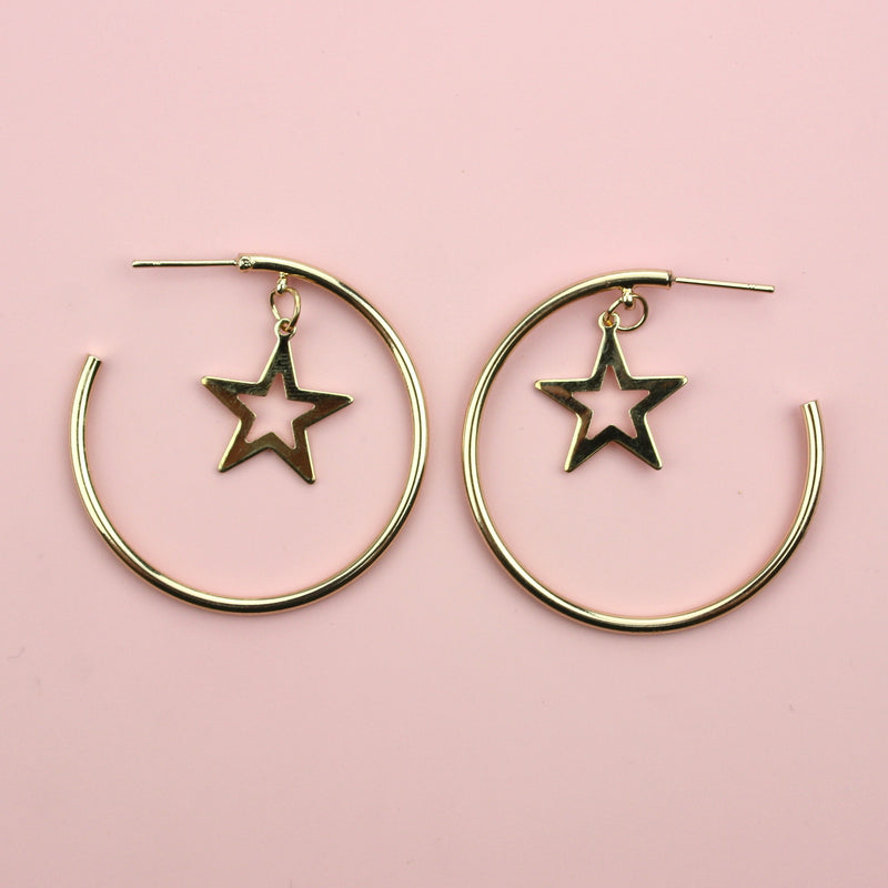 Cut Out Star Drop Hoop Earrings (Gold Plated)