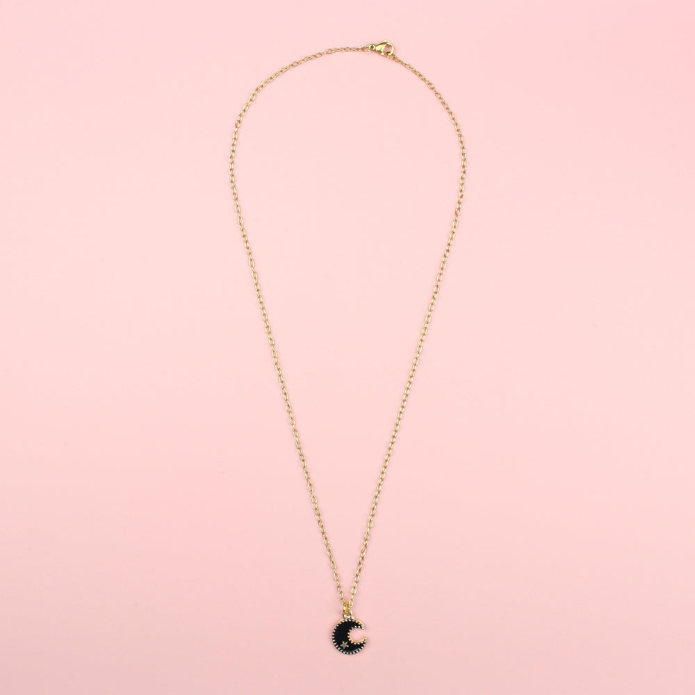 Black Moon & Star Necklace