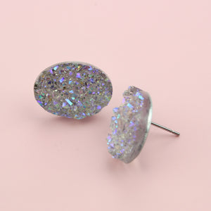 Oval Lilac Sparkle Earrings - Sour Cherry