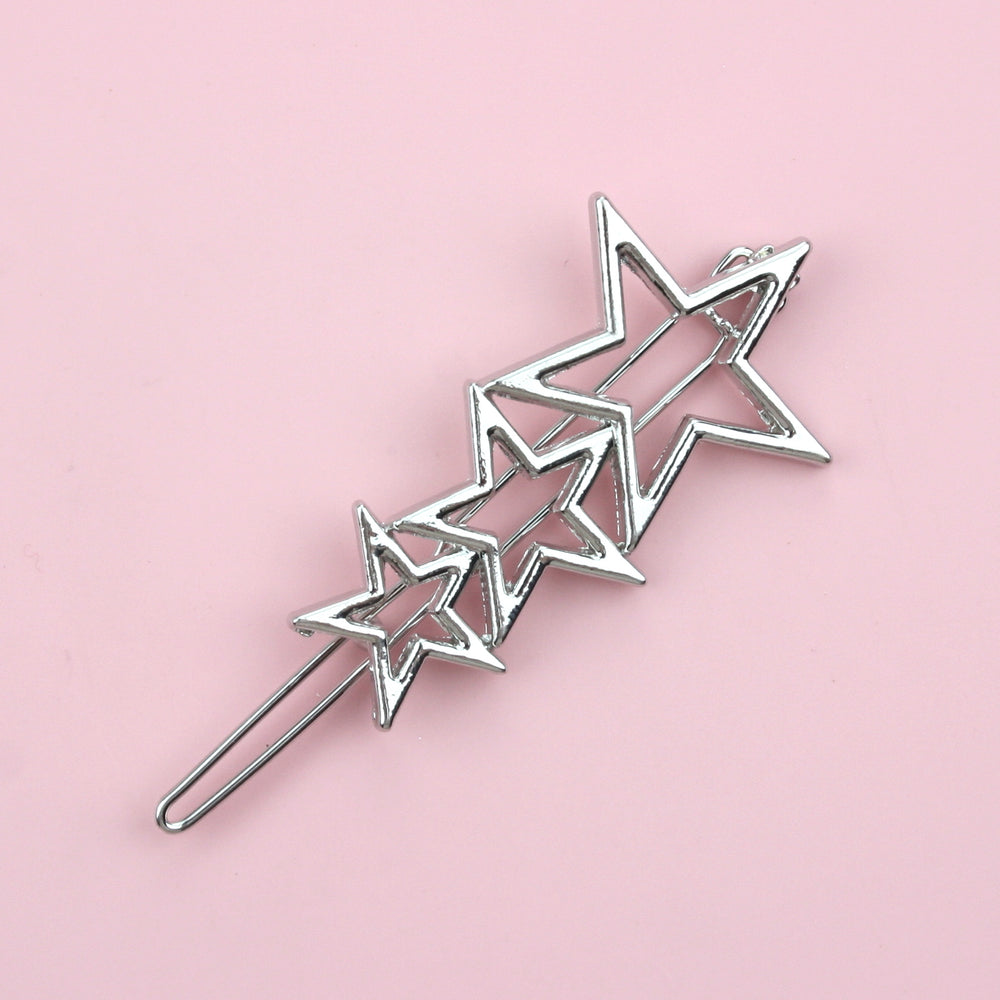 Triple Star Hair Grip (Silver Tone)