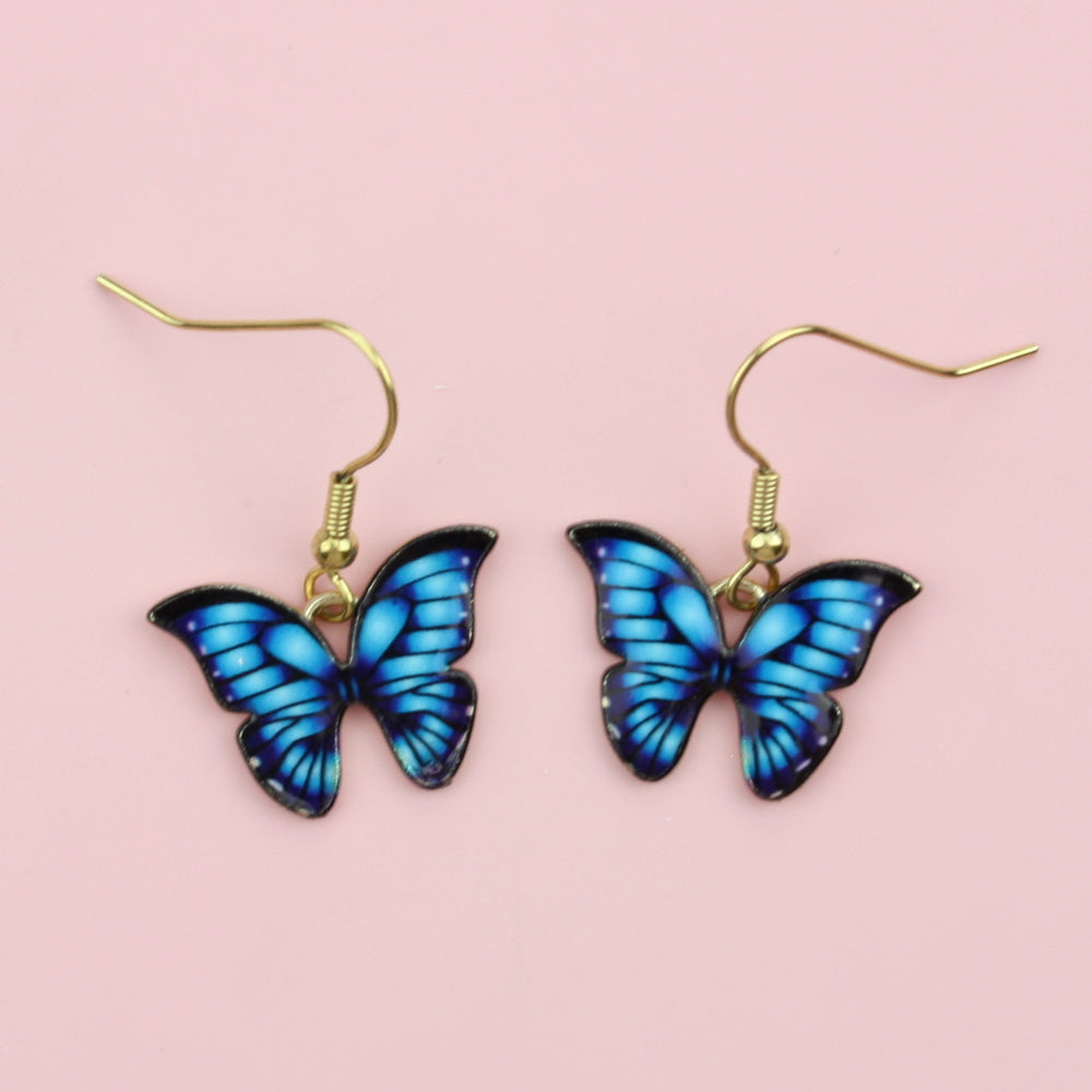 Load image into Gallery viewer, Bright Blue Butterfly Earrings