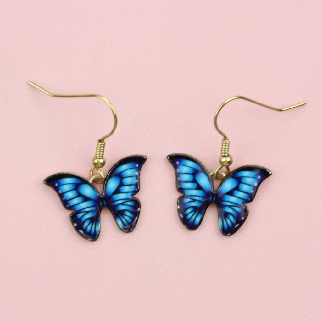 Bright Blue Butterfly Earrings
