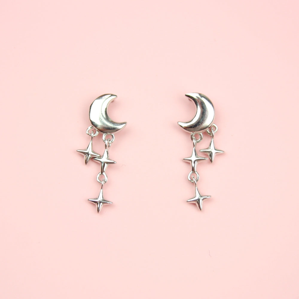Sparkle Star and Moon Stud Earrings (Sterling Silver)