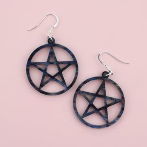 Not Today Jesus, Marble Galaxy Pentagram Earrings