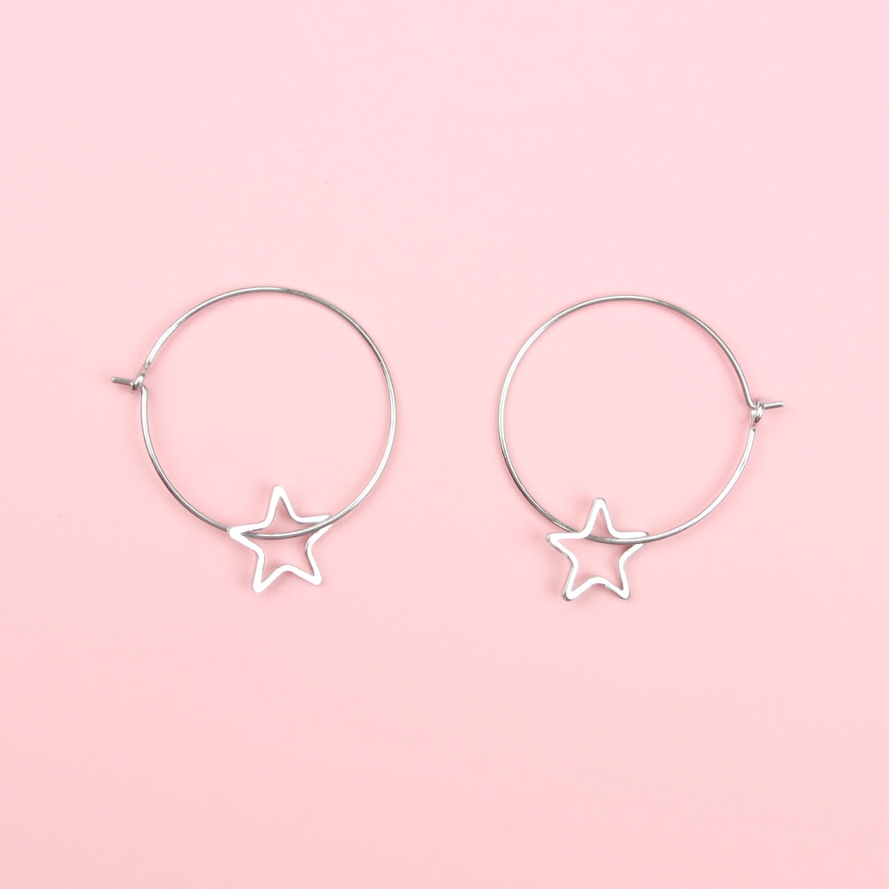 Starry Hoop Earrings (Sterling Silver)