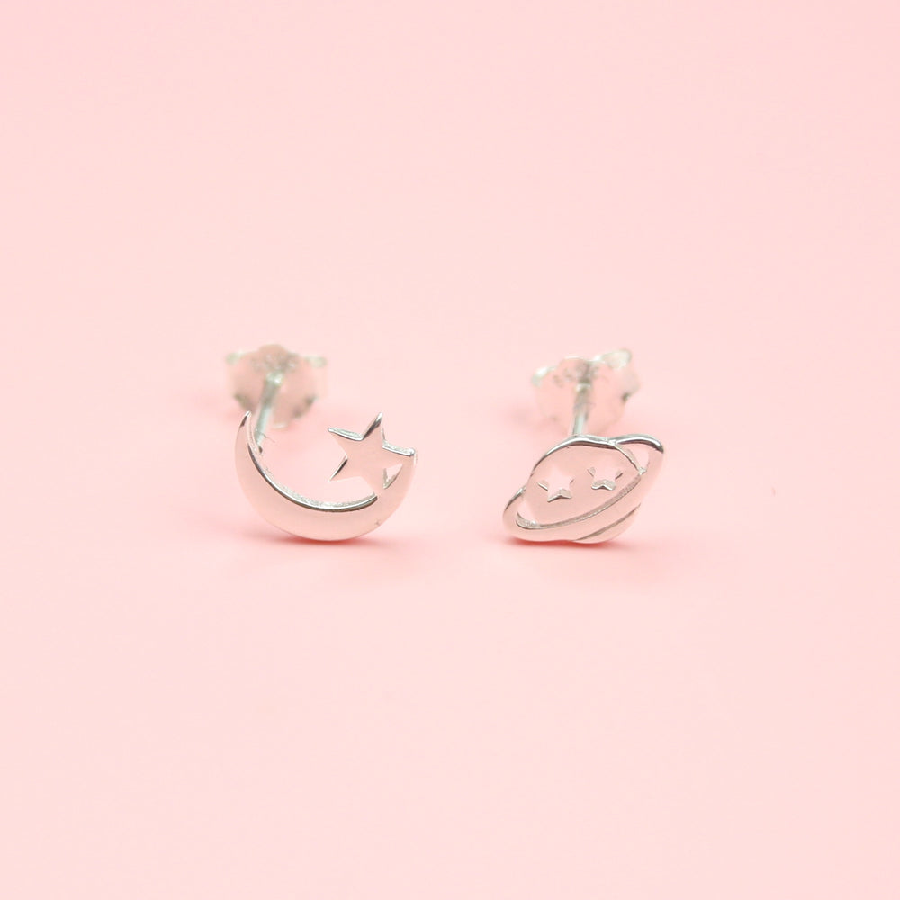 Silver Planet and Moon Stud Earrings (Sterling Silver)