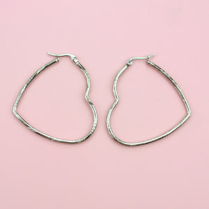 50mm Twisted Heart Hoop Earrings (Stainless Steel)