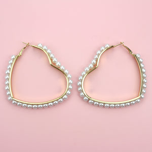 Pearl Heart Hoop Earrings