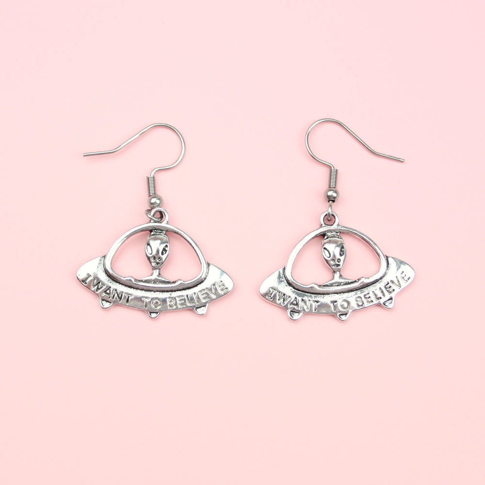 Load image into Gallery viewer, I Want To Believe UFO Earrings - Sour Cherry