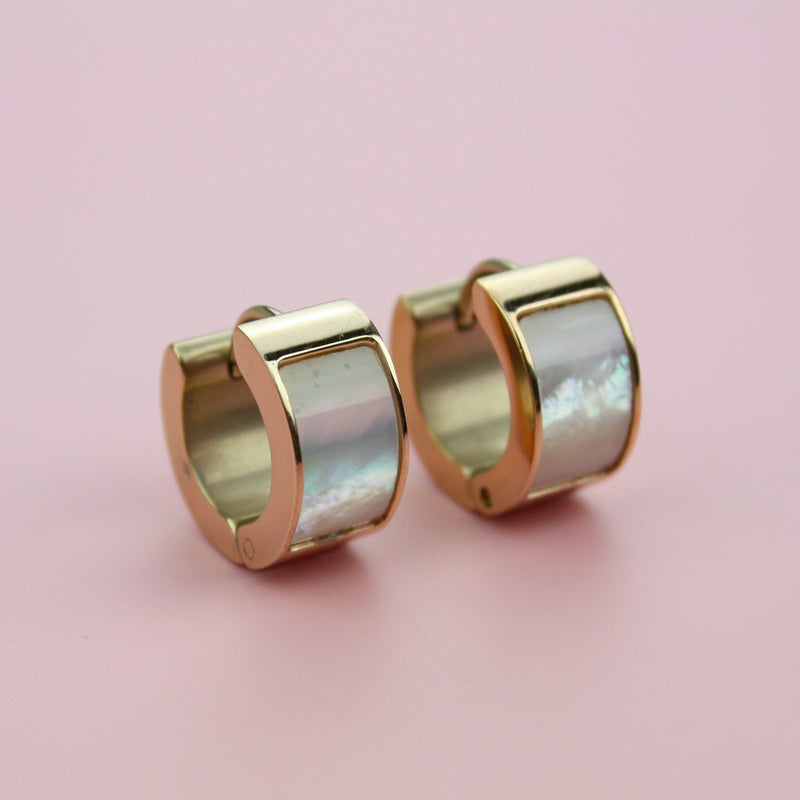 Wide Light Shell Huggie Hoop Earrings