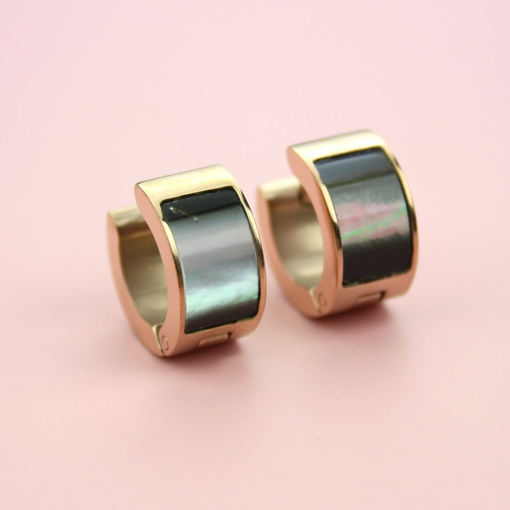 Wide Dark Shell Huggie Hoop Earrings