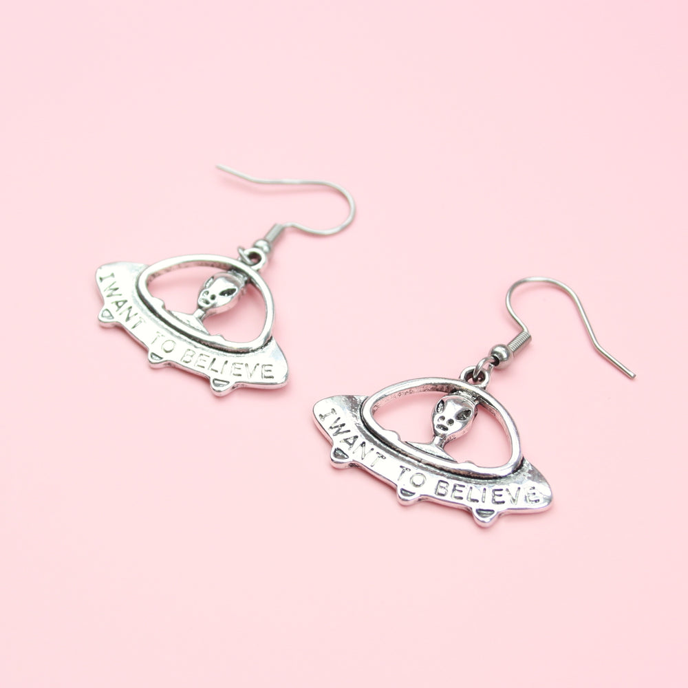 I Want To Believe UFO Earrings - Sour Cherry