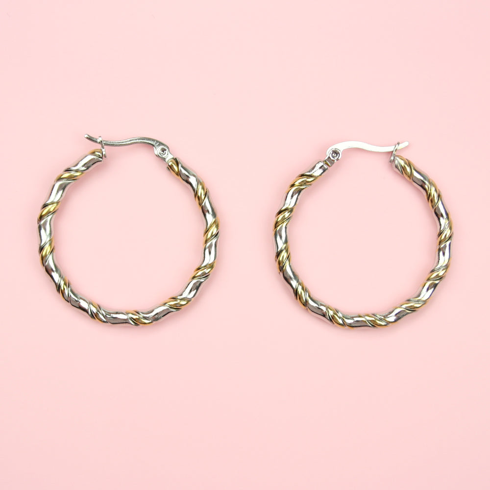Twisted Hoop Earrings (Stainless Steel/Gold Plated)