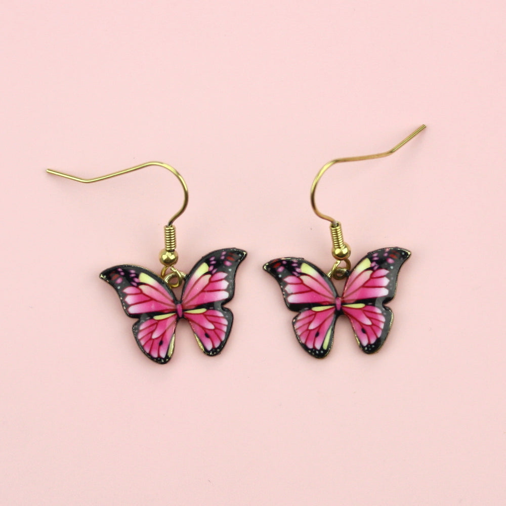 Load image into Gallery viewer, Bright Pink Butterfly Earrings