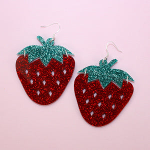 Large Glitter Strawberry Earrings - Sour Cherry