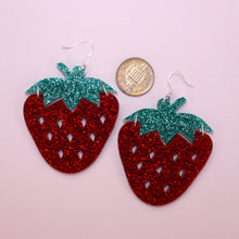 Load image into Gallery viewer, Large Glitter Strawberry Earrings