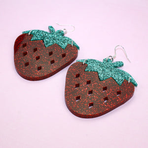 Large Glitter Strawberry Earrings