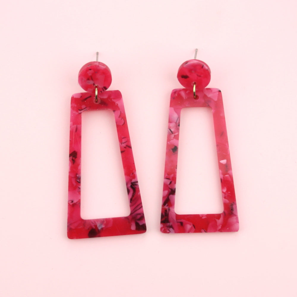 Hot Pink Marble Cut Out Earrings