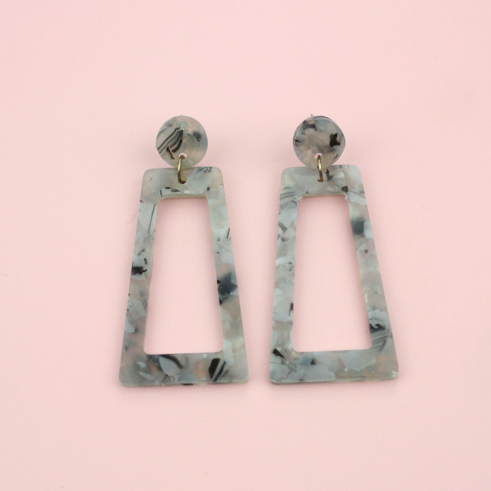Light Grey Marble Cut Out Earrings