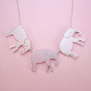 Pink Elephants Necklace