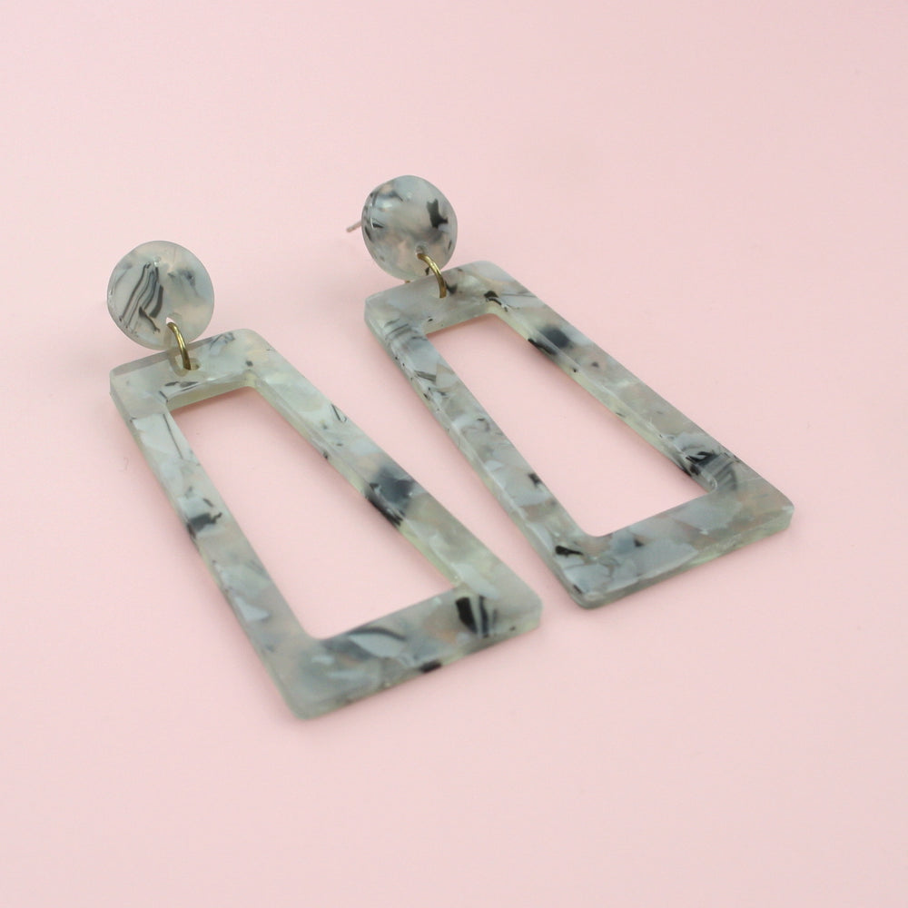 Load image into Gallery viewer, Light Grey Marble Cut Out Earrings