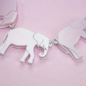 Pink Elephants Necklace - Sour Cherry