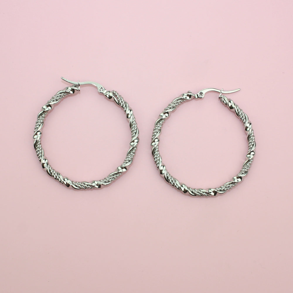 40mm Chunky Twisted Hoop Earrings