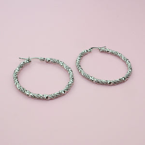 Load image into Gallery viewer, 40mm Chunky Twisted Hoop Earrings